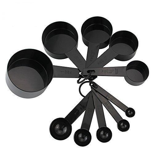 HTINAC Lot DE 10 en Plastique Noir Cuillères à Mesurer Tasses de Mesure Set Outils pour Cuisson Café, Indispensable à Toute Cuisine