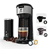 Single Serve Coffee Maker with Milk Frother, Kingtoo Coffee Brewer for K-Cup & Ground Coffee, Strength Control & Self Cleaning Function, w/Reusable Filters, compact 14oz, Milk Frother Included, Black