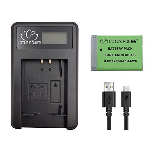 Reemplazo de Paquete de Batería NB-13L 1250mAh con Cargador, Batería NB13L y Cargador para Canon G7XMarkIII / G7XMarkII / G7X / G5X / G9X / SX720HS / SX620 HS (1 Cargador y 1 Batería)