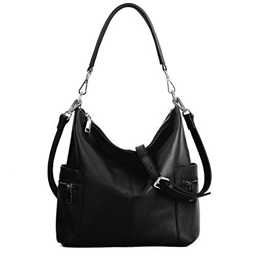YALUXE Women's Multi Pocket Soft Cowhide Leather Medium Purse Style Shoulder Bag Black