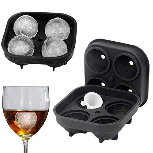 N\C Forma de fútbol Molde de Cubitos de Hielo 3D Bandeja para fabricar Silicona Bar Fiesta Cóctel Whisky, Bandeja de Cubitos de Hielo en Miniatura apilable para Mini refrigeradores, congeladores de