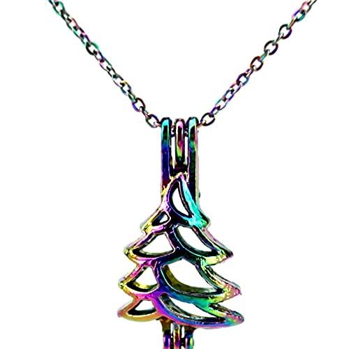 Colgante De Jaula De Cuentas De Árbol De Navidad De Color Arcoíris Collar De Caja Pequeña Aromaterapia Difusor De Aceites Esenciales Colgante Accesorios Joyería Collar De Acero Inoxidable