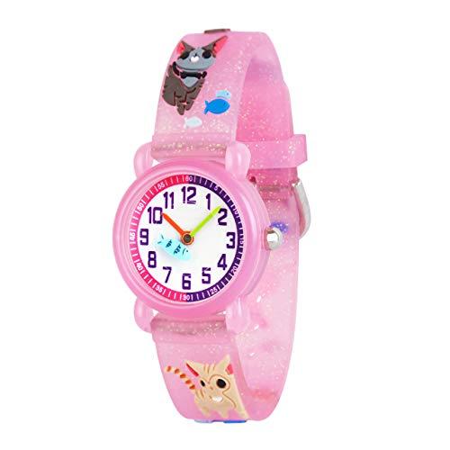 Reloj de pulsera para niños y niñas, diseño 3D de dibujos animados, correa de silicona, relojes de pulsera para enseñar la hora, para niños y niñas
