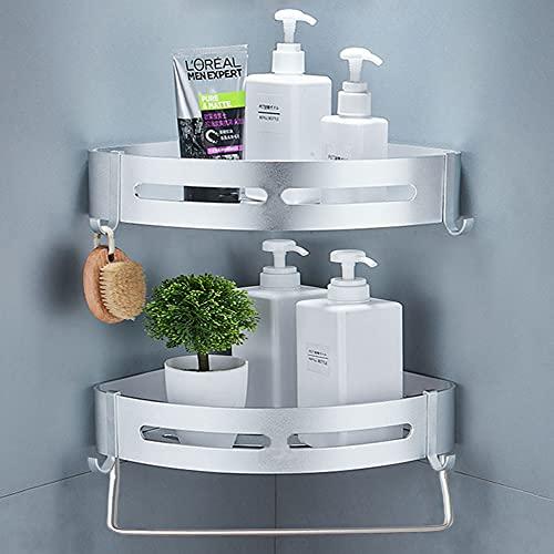 Yeegout Estantes de esquina de ducha sin taladro con barra y ganchos Estante de baño de aluminio Estante de almacenamiento de cocina