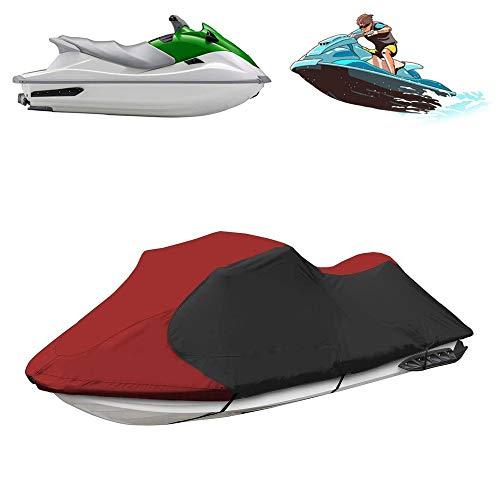 DTLEO Motorboot hülle Persenning Jet Ski Cover 600D Oxford Wasserdicht Staub Schutz Bootsabdeckung Schwarze und rote Nähfarbe,L