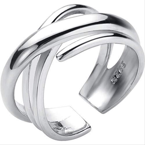 Zilveren Ring Vrouwelijke Multi-layer Lijn Kruis Open Hand Sieraden