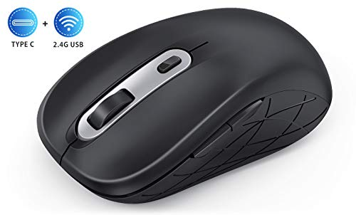 Wireless Mouse Type C 2.4G Jelly Comb Computer Mouse for Laptop with Adjustable DPI 1000/1600/2400 Level Mouse Wireless with PC/Desktop/Windows/MAC OS of Mac Mouse (Black and Sliver)