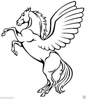 MFX Design Horse Pegasus Bumper Sticker Decal Cars Sticker Decal Tool Box Sticker Decal Vinyl - Made in USA 3 in. x 2.75 in.