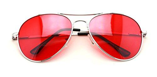 VW Eyewear - Anteojos de sol, plateados, estilo aviador, con cristales de color, rojo (Red Lens), Adulto