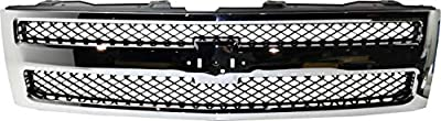 Grille Assembly Compatible with 2007-2013 Chevrolet Silverado 1500 Plastic Chrome Shell/Black Insert Factory Installed