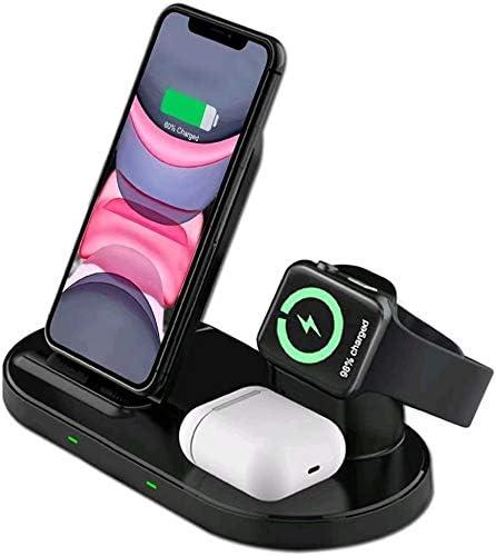 Cargador inalámbrico Rápido, Estación de Carga Rápida Qi Inalámbrica 3 en 1 Soportes de Carga de para iPhone 12/12 Pro Max /iPhone 11/Pro Max / X / XS Max / 8 Apple Watch Airpods Pro/2 y Qi-Enabled