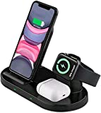 Supporto Caricatore Wireless 3 in 1 per Apple Watch, Qi Supporto di Ricarica Wireless Docking Station per iPhone 12/ iPhone11/XS/XR/X/8, AirPods Pro /2 iWatch 5/4/3/2/1Samsung Galaxy e telefoni qi