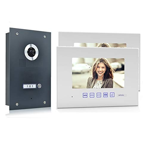 Preisvergleich Produktbild Video Türsprechanlage Gegensprechanlage mit 7'' Monitor Weiß Fischaugenkamera 170° Anthrazit,  Farbe: Ohne