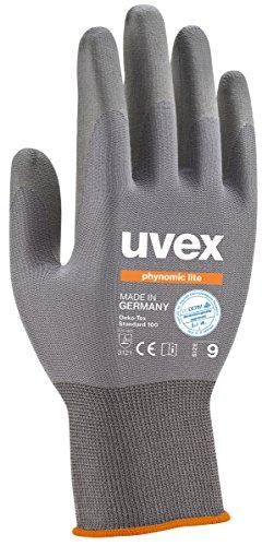 Uvex 3 Paar phynomic Lite Arbeitshandschuhe EN388 - Schutzhandschuhe mit Grip für Trocken und Leicht feuchte Arbeiten - 09/L