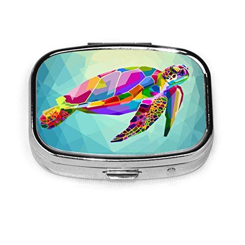 Caja de píldora flotante de tortuga colorida Caja de medicina cuadrada Píldora Caja de vitamina Titular de la caja