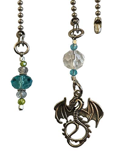 Blue & Green Sun Catcher and Dragon Fan Light Pull Chain...