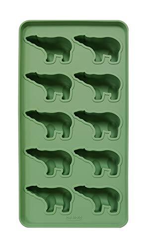 Koryo Alpha Line 100% Silicon Pastel Color Polar Bear Shaped Ice Cube Maker, Eco-Friendly Flexible Tray (Green)