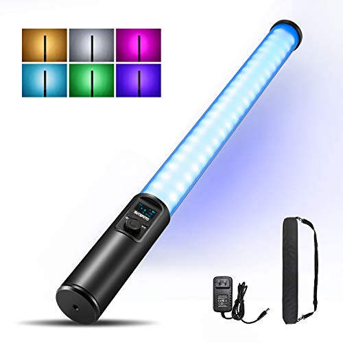 Handheld Light Wand, RGB LED Video Light, Stick Light for Photography Painting with Double-Sided Led 1530° Full Color Dimming 2500K-8500K Rechargeable Battery OLED Display Aluminum Body (Black)
