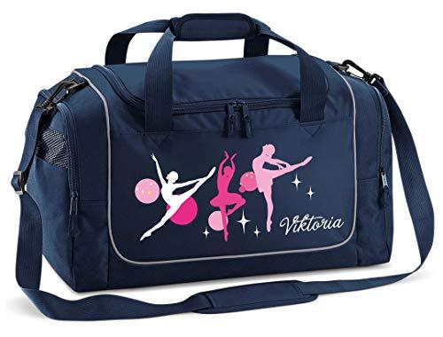 Mein Zwergenland Sporttasche Kinder personalisierbar 38L, Kindersporttasche mit Name und Ballerina Bedruckt in French Navy Blau