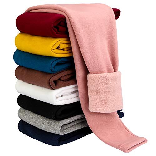 BOOPH Girls Winter Leggings Fleece Lined Kids Basic Pants for 5-6 Years Pink