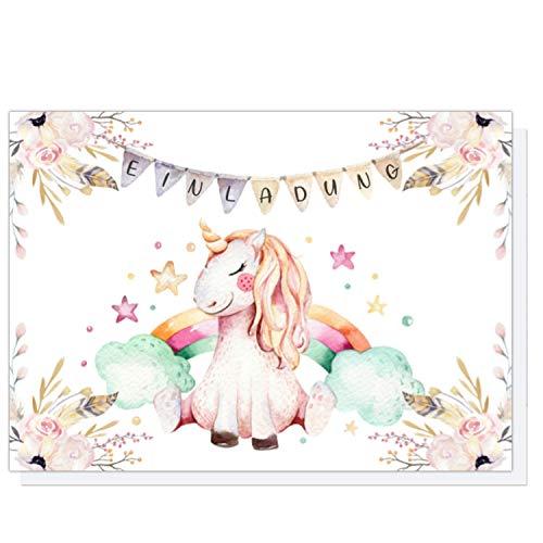 Pandawal Tarjetas de invitación para cumpleaños infantiles, 12 unidades + 12 sobres con diseño de unicornio, ideales para niños y niñas, fiestas de bebés, fiestas de pijamas
