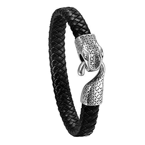 JewelryWe Schmuck Herren Armband, Gotik Edelstahl Schlange geflochten Leder Armband Armreif, Schwarz...