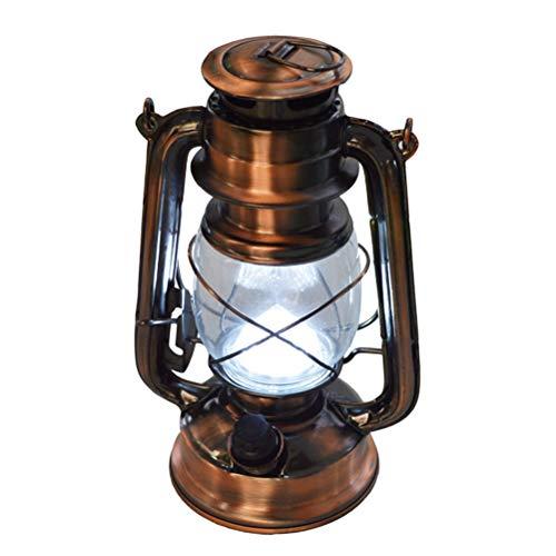 OSALADI Retro Galvanik Schmiedeeisen LED Petroleumlampe Tragbare Hängende Laterne Outdoor Camping Licht - Ohne Batterien (Bronze)