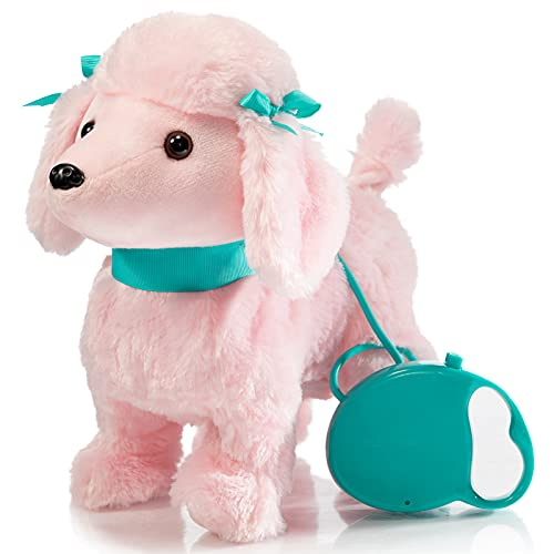 HollyHOME Plush Animated Puppy Poodle Puppy Dog Toy Pet with Remote Control Leash Walking ,Barking and Waging Tails Electronic Puppy 12 Inches Gifts for Kids