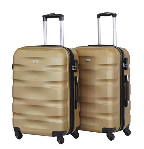 Juego de 2 equipajes medianos 65 cm – ALISTAIR Fly – ABS ultraligeros y resistentes – 4 ruedas – Marca francesa, Beige 4. (Beige) - 1507- Mx2 - Gold-Gold