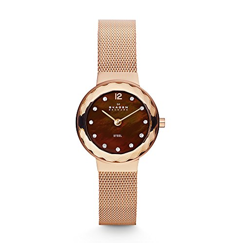 Skagen Women's Leonora Mesh Watch, Color: Rose Gold, 12 (Model: 456SRR1)