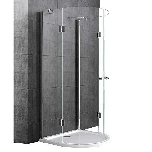 Sogood Halbkreisdusche Duschkabine Rav03K 100x100x190cm Glasdusche ESG-Sicherheitsglas Klarglas inkl. Easy-Clean-Beschichtung
