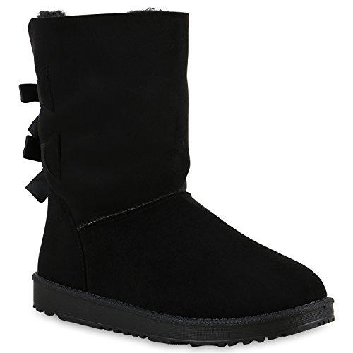 Warm Gefütterte Boots Damen Stiefeletten Kunstfell Schlupfstiefel Schlupfstiefeletten Schuhe 129179 Schwarz Schwarz Schleife 37 Flandell