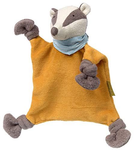 sigikid, Mädchen und Jungen, Kasimir Dachs, Schnuffeltuch Green Collection, Babyspielzeug, empfohlen ab 0 Monaten, orange/grau, 39173