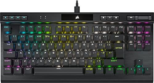 Corsair K70 RGB TKL CHAMPION SERIES Tenkeyless Mechanical Gaming Keyboard (CHERRY MX Red Keyswitches: Linear and Smooth, Durable Aluminum Frame, Per-Key RGB LED Backlighting) QWERTY, Black
