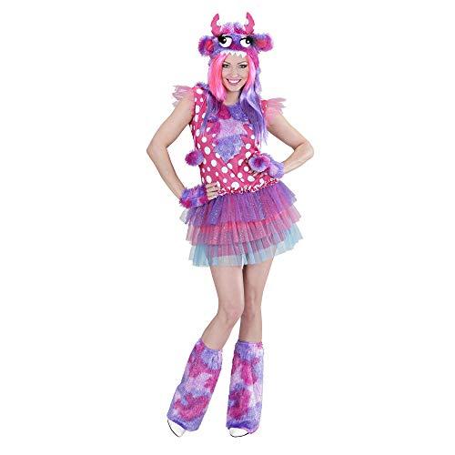 Widmann 01711 - Erwachsenenkostüm Monster Girl, Kleid, Mütze, Handschuhe und Stulpen, Größe S