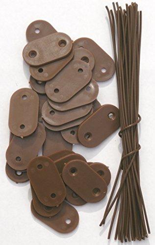 EXCOLO Befestigung Montage-Plättchen Draht Kabelbinder für PVC Sichtschutz Blickschutz (26 Plättchen braun)