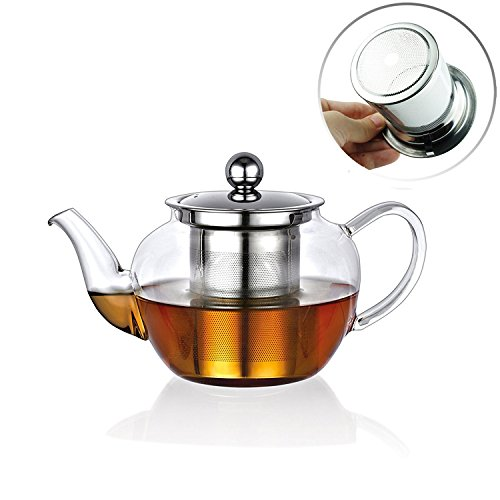 Bobopai Clear High Borosilicate Glass Tea Pot with Removable Stainless Steel Infuser Heat Resistant Loose Leaf Teapot Microwavable and Stovetop Safe Tea Set