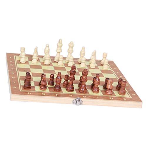 LQH 3 en 1 Juego de ajedrez Set-A Mano de Madera Checkers Juego de Backgammon for el hogar Yjiangluochen