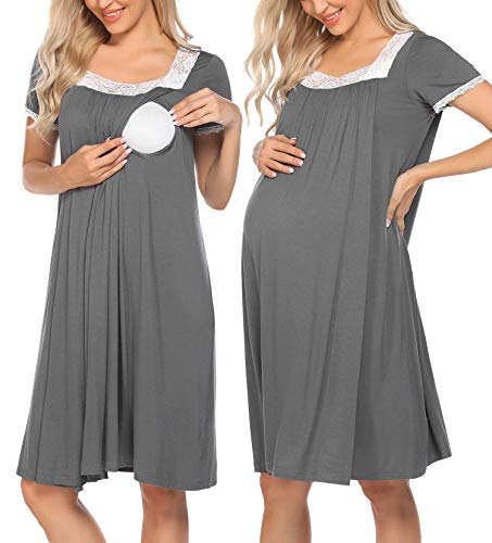 Ekouaer Nursing Dress Maternity Nightgown Women Delivery/Labor Breastfeeding Sleep Dress Grey,XX-Large