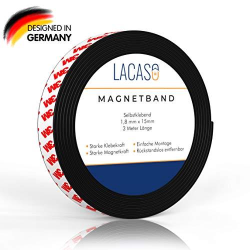 Lacaso Magnetband [3M] stark selbstklebend I Magnetklebeband I Universal Magnetstreifen Individuell Zuschneidbar I Ideal für Schule, Arbeit und Werkstatt I Verbesserte Version 2020