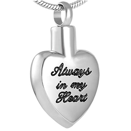 QQJJSUDIW Memorial Urna De Cremaciónalways In My Heart Carved Heart-Shaped Urn Pendant Is Used To Store Stainless Steel Women's Souvenir Jewelry Ashes Necklace