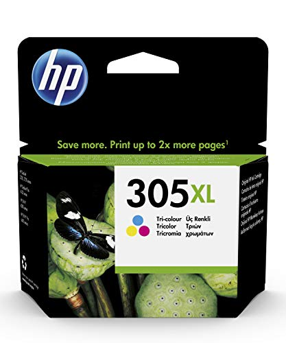 HP 305XL 3YM63AE, Tricolor, Cartucho de Tinta de Alta Capacidad Original, compatible con impresoras de inyección de Tinta HP...