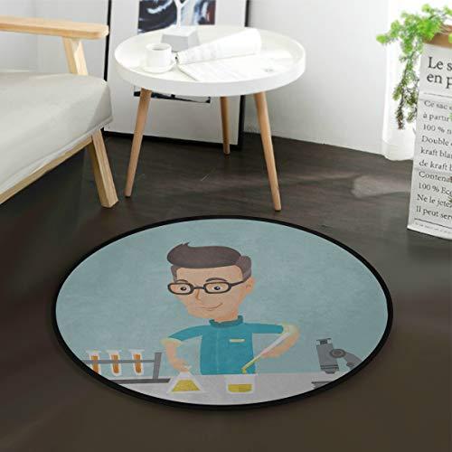 N\A Waschbarer Teppich Kaukasischer Student Carry Laboratory Experimentierbereich Teppich für Schlafzimmer Schlafzimmer Teppiche Tan Runde 3 Fuß rutschfest für Schlafzimmer Wohnzimmer Studie