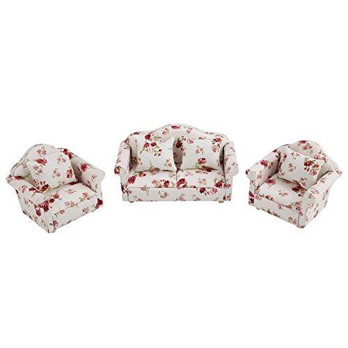Puppenhaus Sofa, 1/12 Maßstab Miniatur Blumenmuster Sofa Kissen Set Puppenhaus Möbel Zubehör Wohnzimmer Dekor für Puppenhaus(#1)