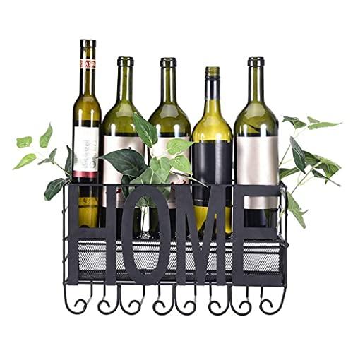 LWF Estante De Vino Montado En La Pared 5 Botellas De Vino Y 4 Gafas De Tallo con Almacenamiento De Corcho, Botelleros Vino Metal para Bar/Cocina/Gabinetes, Negro