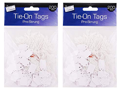Set of 200 - Tie-On Tags Blank Label Paper Luggage Tags - Pre-Strung Tag - Size Approx 13 x 20mm (Pack of 2)