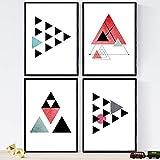 Nacnic Set de 4 láminas para enmarcar GEOMETRICOS. Posters Estilo nórdico con triángulos para la decoración del hogar. Láminas con Formas geométricas en Tonos Rojos y Grises. Tamaño A4.