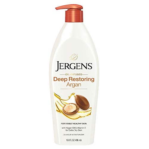 Jergens Deep Restoring Argan Oil Moisturizer, Soothing Body and Hand Lotion, 16.8 Ounce, with Reviving Argan Oil and Vitamin E, Oil-Infused, Dermatologist Tested