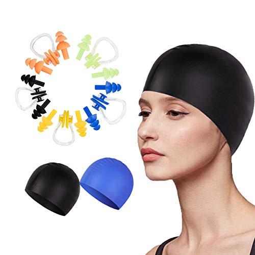 Jicyor Ohrstöpsel Schwimmen, 5 Wiederverwendbare Weiche Silikon Nasenklammern Ohrenstöpselsets + 2 Wasserdicht Badekappe Kann zum Schwimmen, Duschen und für andere Wassersportarten Verwendet Werden
