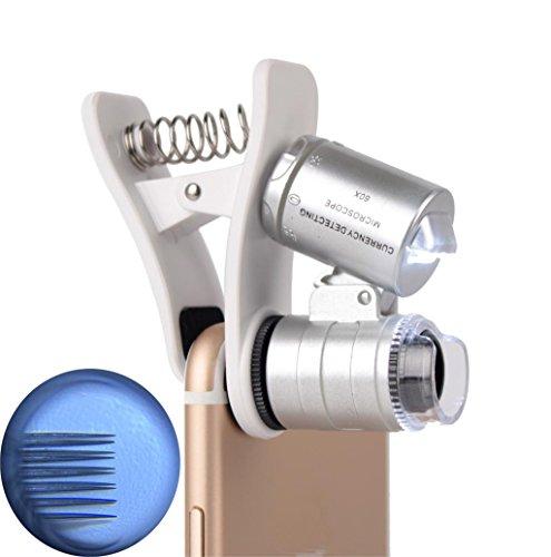 LIPOVOLT 60X Zoom Mobile Phone Camera Optical LED UV Clip Magnifier Microscope Micro Lens